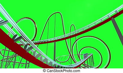 Brexit text on roller coaster on green screen