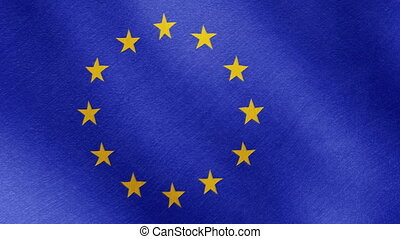 Brexit, the EU flag is a falling star - Waving flag of the...