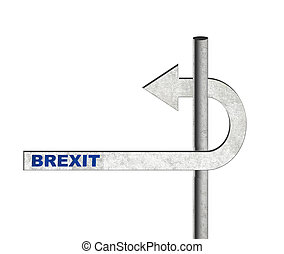 Brexit UK EU u-turn. Signpost changing directins, isolated...
