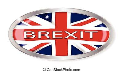 Brexit Union Jack Oval Button