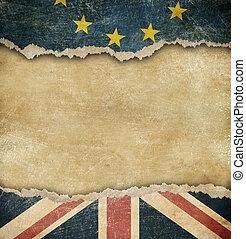 brexit, unione, -, gran bretagna, bandiere, cartone, europeo