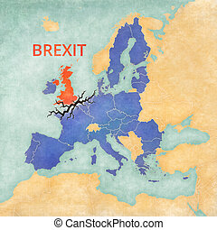 Brexit - United Kingdom and European Union - Illustration ...
