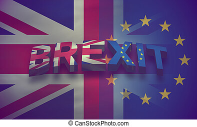 Brexit United Kingdom Flag Background Illustration 3d render
