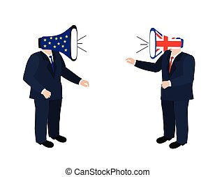 Brexit vector illustration. European Union and England torn flags. Brexit cracks. United Kingdom exit from europe vector. Brexit concept. Brexit concept people