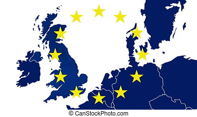 Brexit - West EU blue map with the 12 symbolic stars - The...