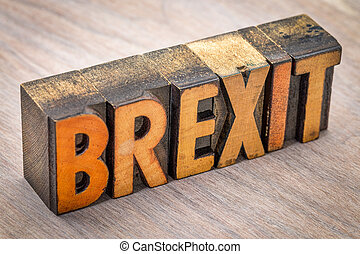 Brexit word abstract in wood type