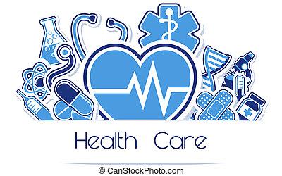 brezo, cuidado, y, muestra médica, vector
