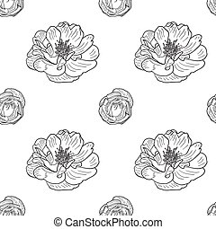 Briar rose sketch seamless pattern. Black outline on white ...