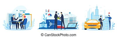 Bribe, baksheesh, corruption concept, set of vector illustration. Businessman holding stack of money in hand offering bribe, poloceman and financial bribery. Corrupted business or financial crime.