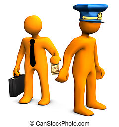 Bribe - Orange cartoon with police cap and money in the...