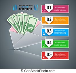 Bribe, envelope - Money business infographic. Vector eps 10