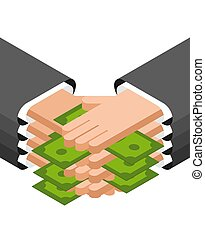 Bribe hands and money. Corruption Concept illustration