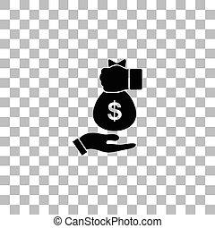 Bribe icon icon flat - Bribe icon. Black flat icon on a...