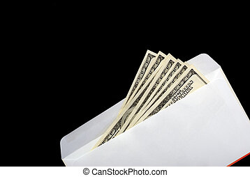 Bribe in an envelope black background
