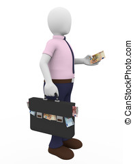 Bribe man - A man with a briefcase full of euro notes holds...