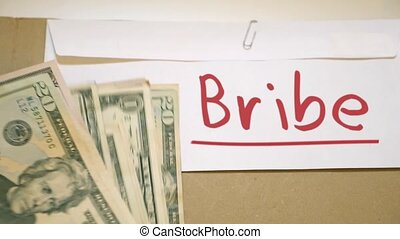 Bribe money concept