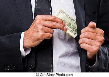 bribe., primo piano, di, uomini affari, bastonatura, soldi, a, suo, tasca