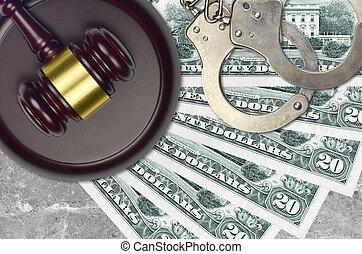 bribery., action éviter, juge évaluation, marteau, 20, police, menottes, concept, judiciaire, tribunal, ou, impôt, dollars, factures, desk., nous