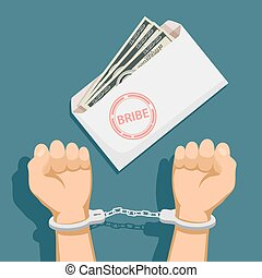 Bribery and corruption. Envelope with dollar banknotes. Man...