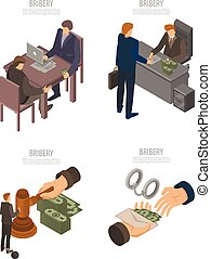 Bribery banner set, isometric style - Bribery banner set....