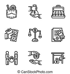 Bribery business money icon set, outline style