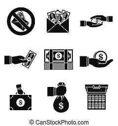 Bribery corrupt icon set, simple style - Bribery corrupt...