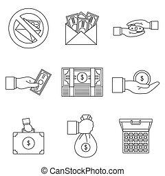 Bribery corrupt practices icon set, outline style - Bribery...