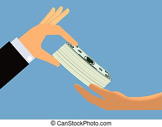 Bribery - Hand giving a bundle of cash to another hand