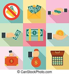 Bribery icon set, flat style - Bribery icon set. Flat set of...