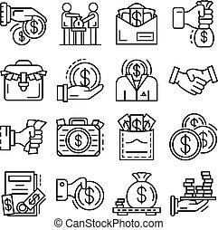 Bribery icon set, outline style - Bribery icon set. Outline...