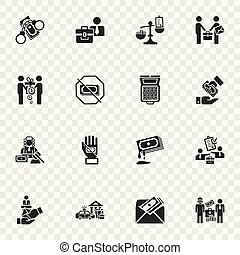Bribery icon set, simple style - Bribery icon set. Simple...