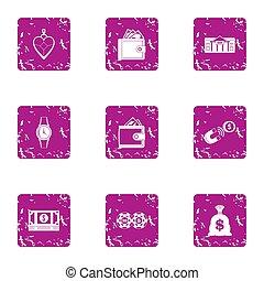 Bribery icons set, grunge style - Bribery icons set. Grunge...