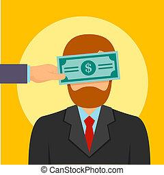 Bribery money close eyes concept background, flat style