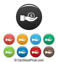 Bribery money coin icons set color - Bribery money coin...