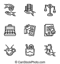 Bribery money icon set, outline style - Bribery money icon...