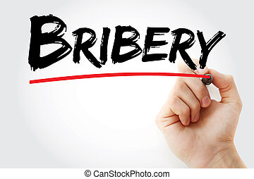 Bribery text with marker