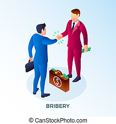Bribery two man concept background, isometric style
