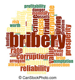 Bribery word cloud concept on white background, 3d...