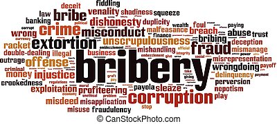 Bribery word cloud concept. Vector illustration
