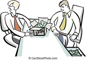Bribes to officials - Vector illustration of a bribes to...