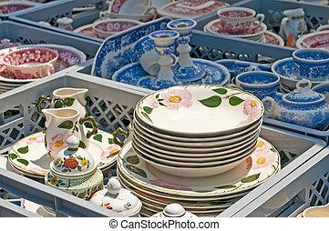 bric-a-brac market with ceramic