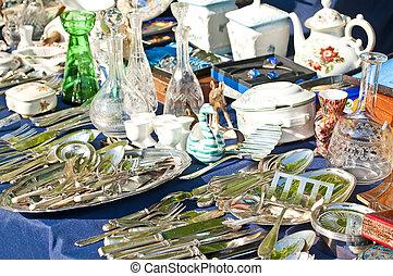bric-a-brac market with cutlery