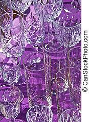bric-a-brac market with wine glasses