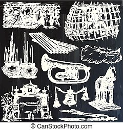 Bric a brac, objects - an hand drawn pack. Freehand sketching. Vector collection, line art.