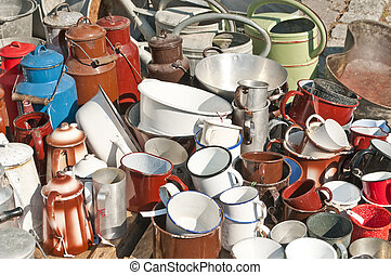 bric-a-brac, tinware, 시장