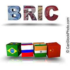 3d design rendered formed by the BRIC countries Brazil, Russia, India and China