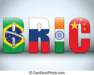 Vector - BRIC Countries Buttons Brazil Russia India China