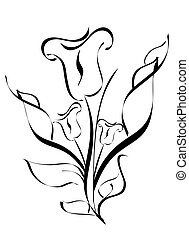 briciolo, fiore, silhouette, isolato