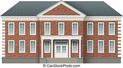 Front view of brick administrative governmental building with grey roof. Traditional classic architecture of building with beautiful entrance and columns.