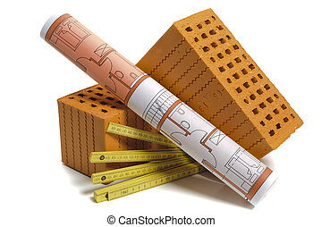 brick and plan for house building